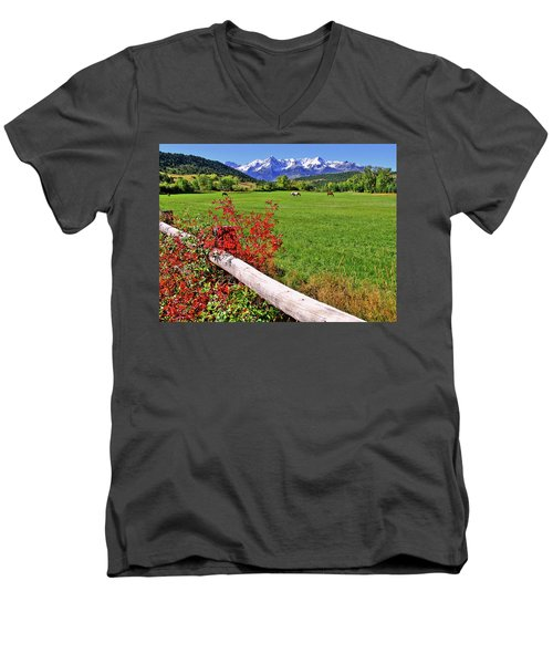 Horses In The San Juans Men's V-Neck T-Shirt