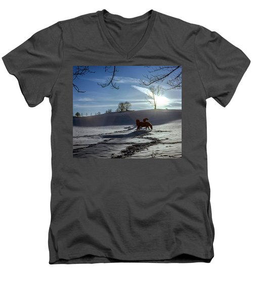 Horses In The Snow Men's V-Neck T-Shirt by Greg Reed