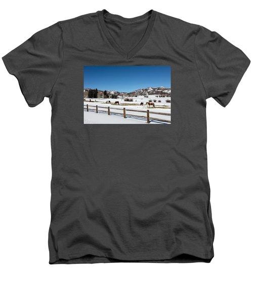 Horses On A Small Farm Near The Aspen Airport Men's V-Neck T-Shirt by Carol M Highsmith
