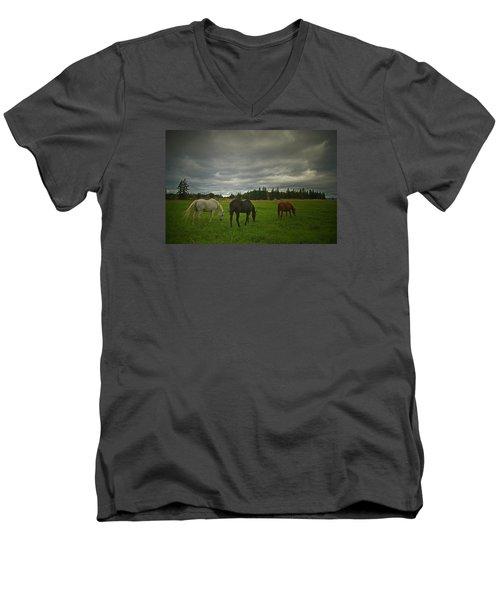 Horses Under Heavy Sky Men's V-Neck T-Shirt