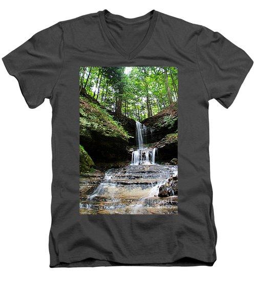 Horseshoe Falls #6736 Men's V-Neck T-Shirt by Mark J Seefeldt