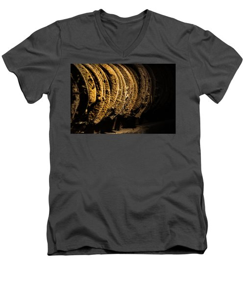 Men's V-Neck T-Shirt featuring the photograph Horseshoes by Jay Stockhaus