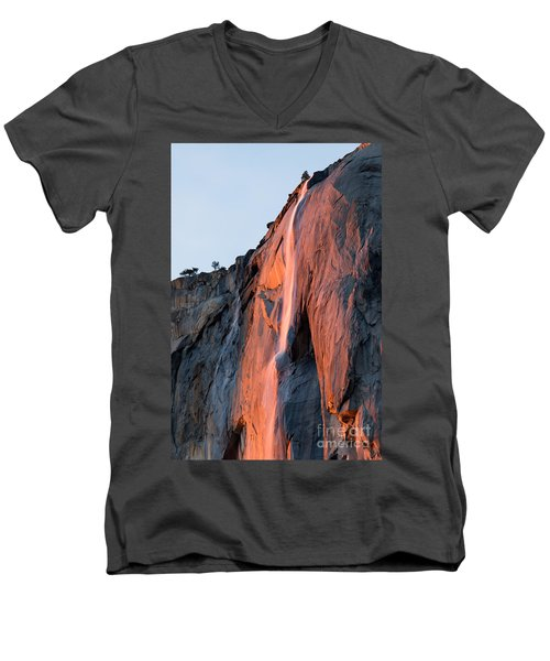 Men's V-Neck T-Shirt featuring the photograph Horsetail Falls 2 by Vincent Bonafede