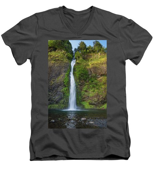 Horsetail Falls In Spring Men's V-Neck T-Shirt by Greg Nyquist