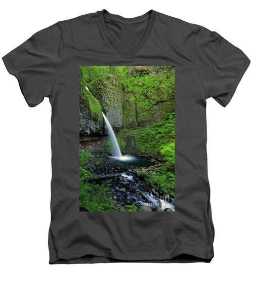 Horsetail Falls Waterfall Art By Kaylyn Franks Men's V-Neck T-Shirt
