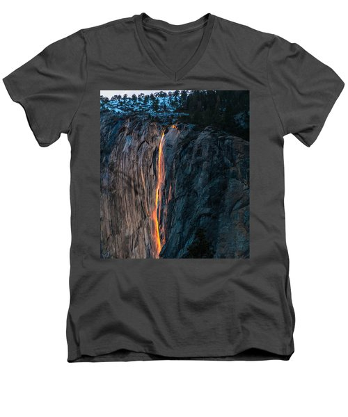 Horsetail Water Fall Glow Men's V-Neck T-Shirt