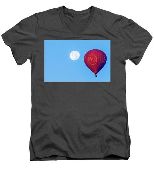 Hot Air Balloon And Moon Men's V-Neck T-Shirt