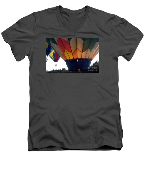 Men's V-Neck T-Shirt featuring the painting Hot Air Balloon by Debra Crank