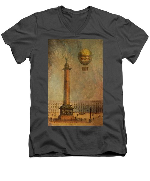 Men's V-Neck T-Shirt featuring the digital art Hot Air Balloon Over St Petersburg And The Hermitage by Jeff Burgess