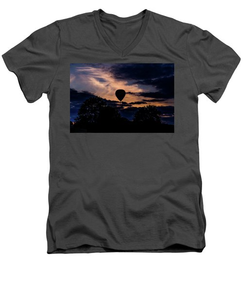Hot Air Balloon Silhouette At Dusk Men's V-Neck T-Shirt