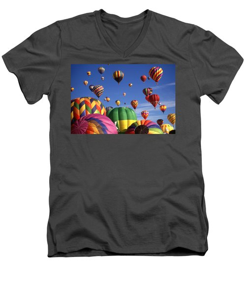 Beautiful Balloons On Blue Sky Men's V-Neck T-Shirt by Art America Gallery Peter Potter