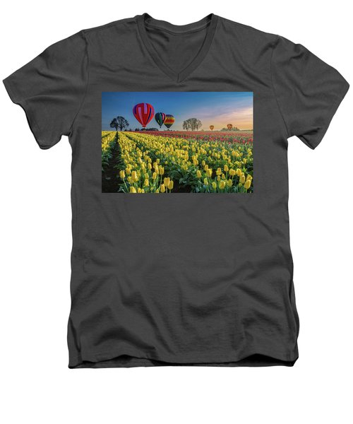 Hot Air Balloons Over Tulip Fields Men's V-Neck T-Shirt by William Lee