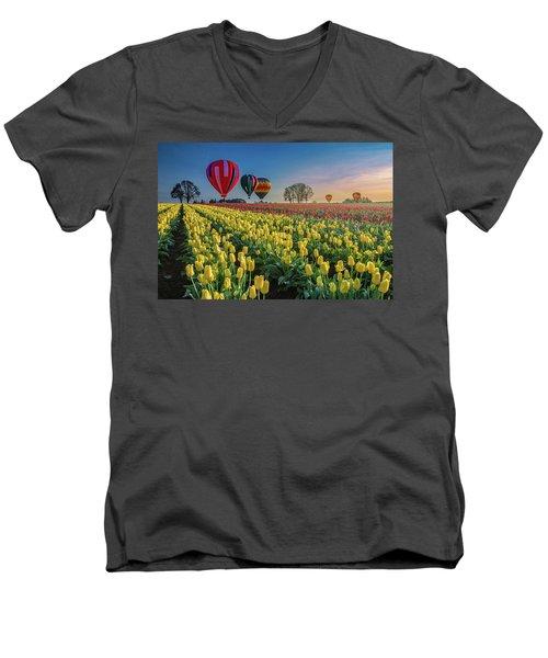 Hot Air Balloons Over Tulip Fields Men's V-Neck T-Shirt