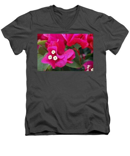 Hot Pink Bougainvillea Men's V-Neck T-Shirt