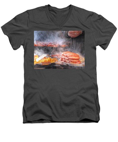 Hot Sausage Hot Dog Men's V-Neck T-Shirt by Yury Bashkin