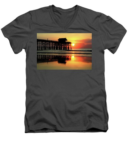 Hot Sunrise Over Cocoa Beach Pier  Men's V-Neck T-Shirt