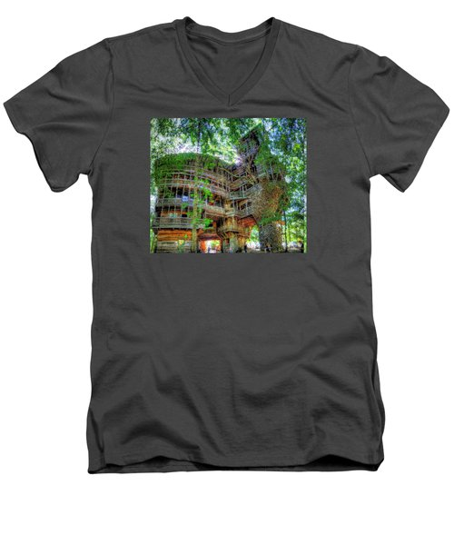 Men's V-Neck T-Shirt featuring the painting Hotel California by Mario Carini