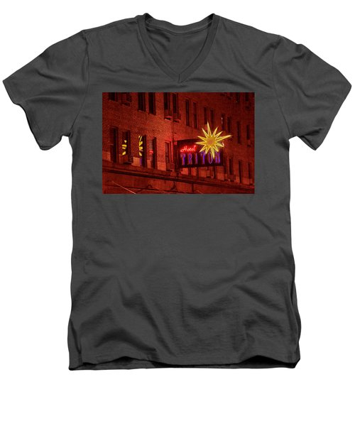 Hotel Triton Neon Sign Men's V-Neck T-Shirt
