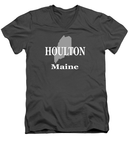 Men's V-Neck T-Shirt featuring the photograph Houlton Maine State City And Town Pride  by Keith Webber Jr