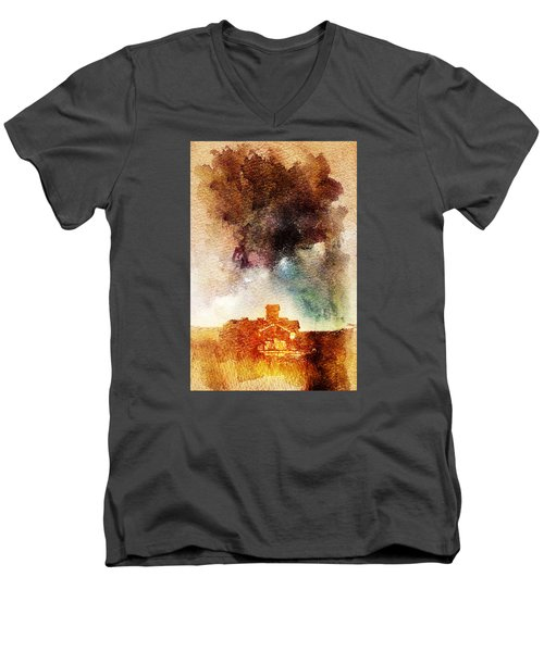 House And Night Men's V-Neck T-Shirt by Andrea Barbieri