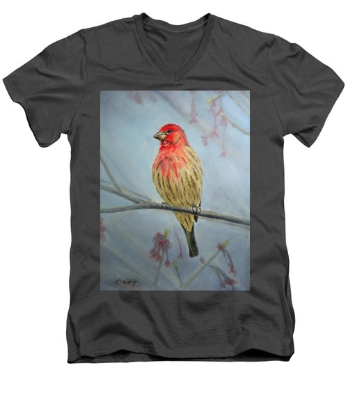 House Finch Men's V-Neck T-Shirt by Marna Edwards Flavell