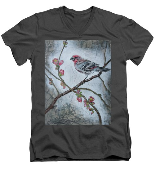 Men's V-Neck T-Shirt featuring the mixed media House Finch by Sheri Howe