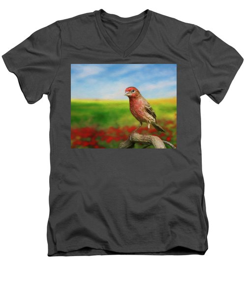 House Finch Men's V-Neck T-Shirt by Steven Richardson