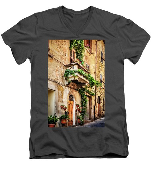 House In Arezzoo, Italy Men's V-Neck T-Shirt by Marion McCristall