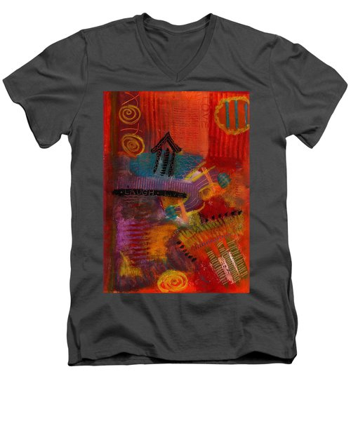 Men's V-Neck T-Shirt featuring the painting House Of Laughter by Angela L Walker