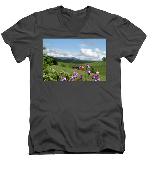 Men's V-Neck T-Shirt featuring the photograph House On Hill In Lexington by Emanuel Tanjala