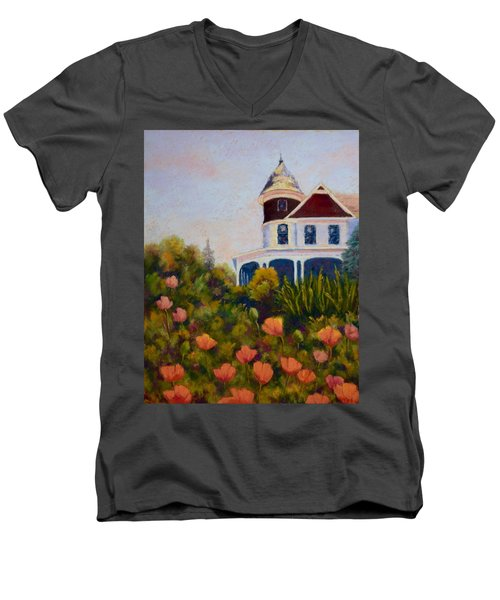 Men's V-Neck T-Shirt featuring the painting House On The Hill by Nancy Jolley