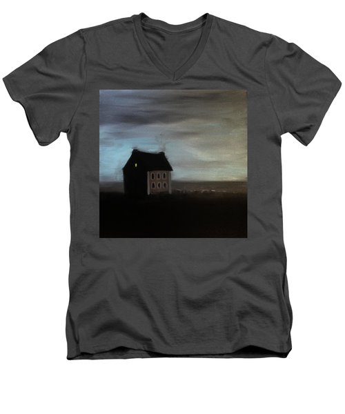 Men's V-Neck T-Shirt featuring the painting House On The Praerie by Tone Aanderaa