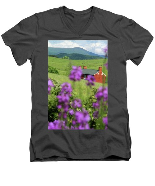Men's V-Neck T-Shirt featuring the photograph House On Virginia's Hills by Emanuel Tanjala