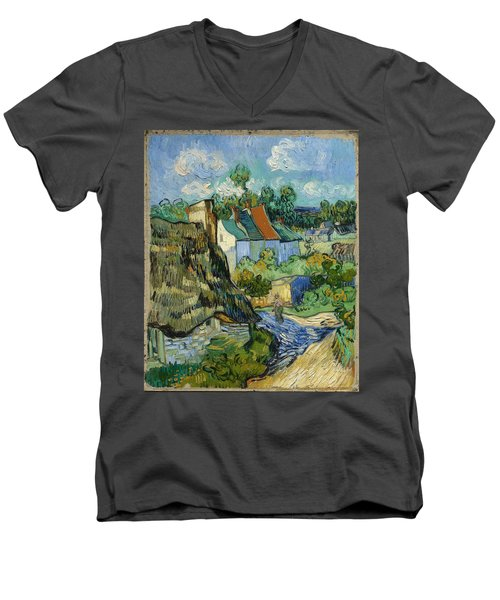 Men's V-Neck T-Shirt featuring the painting Houses In Auvers by Van Gogh