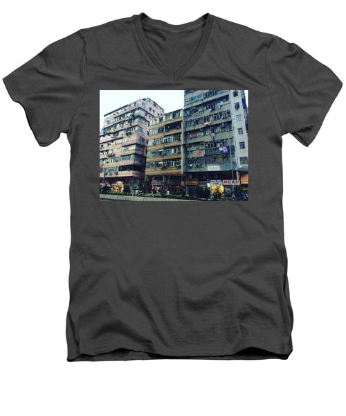 Houses Of Kowloon Men's V-Neck T-Shirt by Florian Wentsch