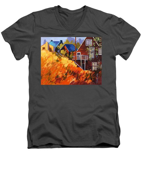 Men's V-Neck T-Shirt featuring the painting Houses On The Hill by Rae Andrews