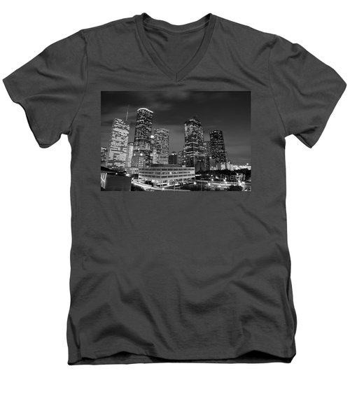 Houston By Night In Black And White Men's V-Neck T-Shirt