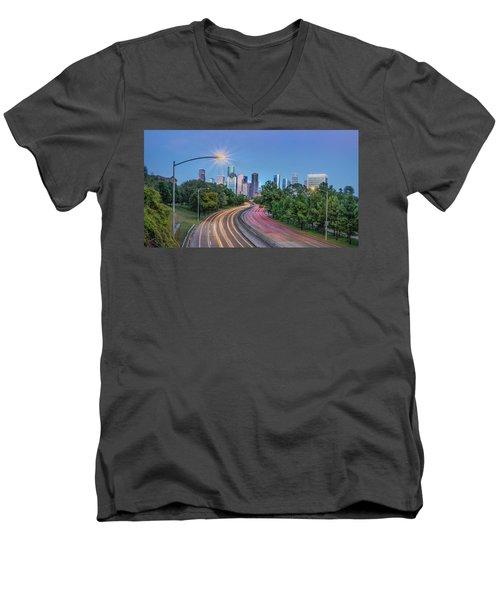 Houston Evening Cityscape Men's V-Neck T-Shirt
