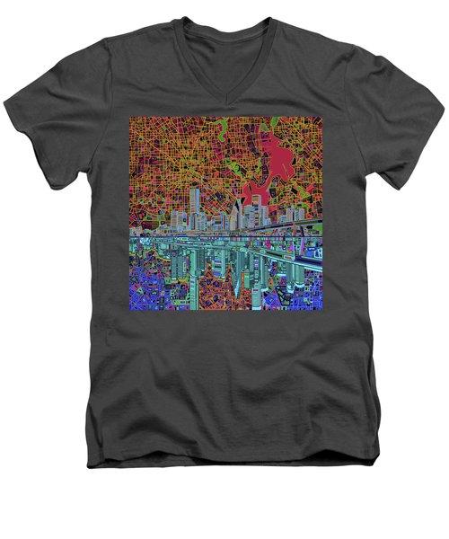 Houston Skyline Abstract 3 Men's V-Neck T-Shirt