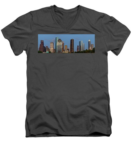 Men's V-Neck T-Shirt featuring the photograph Houston Skyline Panorama by Jonathan Davison