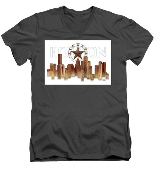 Men's V-Neck T-Shirt featuring the painting Houston Texas Skyline by Doug Kreuger