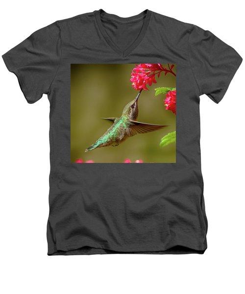 Hover Lunch Men's V-Neck T-Shirt by Sheldon Bilsker