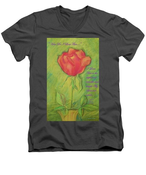 Men's V-Neck T-Shirt featuring the drawing How Do I Love Thee ? by Denise Fulmer