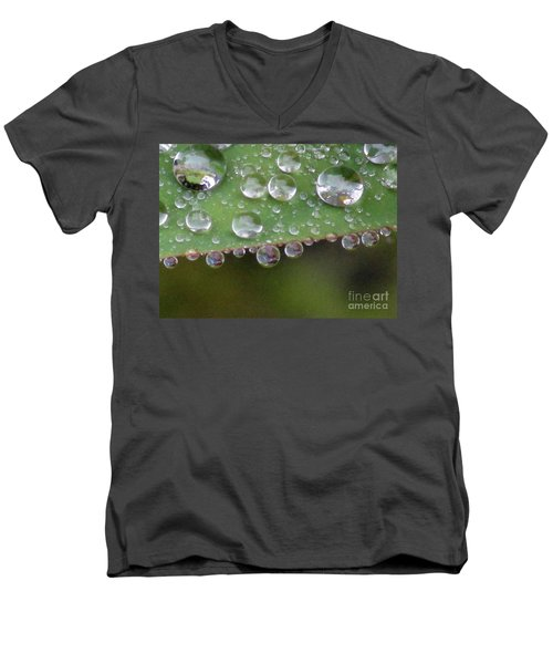 How Many Raindrops Can A Leaf Holds. Men's V-Neck T-Shirt by Kim Tran