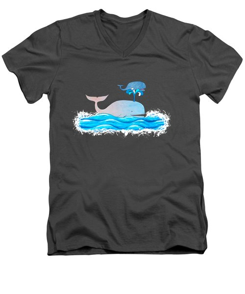 How Whales Have Fun Men's V-Neck T-Shirt by Shawna Rowe