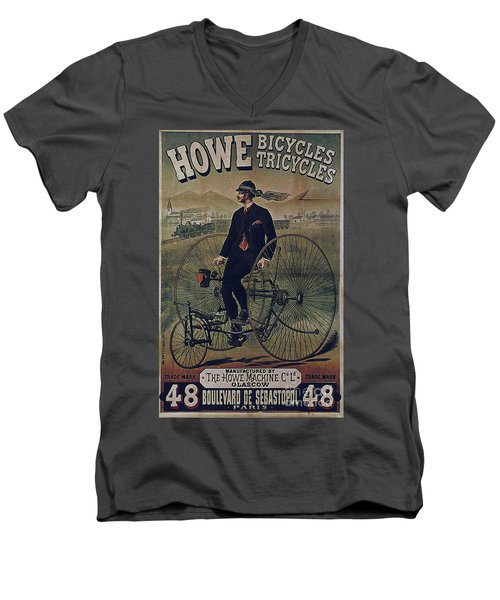 Howe Bicycles Tricycles Vintage Cycle Poster Men's V-Neck T-Shirt