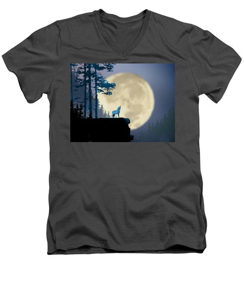Howling Coyote Men's V-Neck T-Shirt