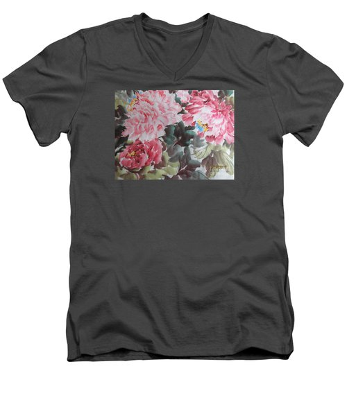 Men's V-Neck T-Shirt featuring the painting Hp11192015-0758 by Dongling Sun