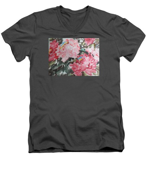 Men's V-Neck T-Shirt featuring the painting Hp11192015-0759 by Dongling Sun