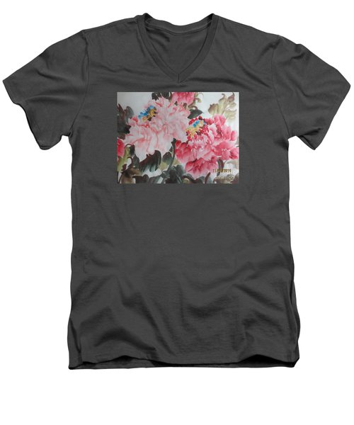 Men's V-Neck T-Shirt featuring the painting Hp11192015-0760 by Dongling Sun